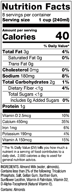 Almond Milk Unsweetened. Nutrition Facts
